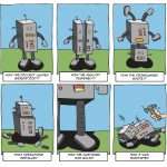 Cartoon of a robot showing different interpretations of requirements