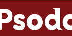Psoda logo - red background, white letters