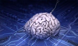 AI - brain wired to a computer chip