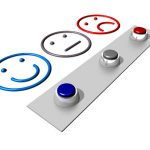PMOs satisfaction: 3 faces happy, neutral and sad with buttons to pick a face with
