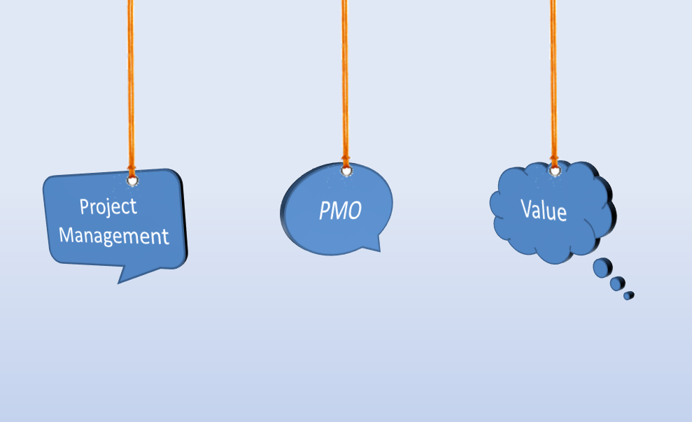 Value driven PMO: Thought bubbles on strings saying project management, PMO and value