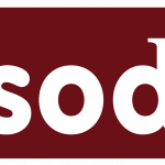 Psoda logo - red background with white letters