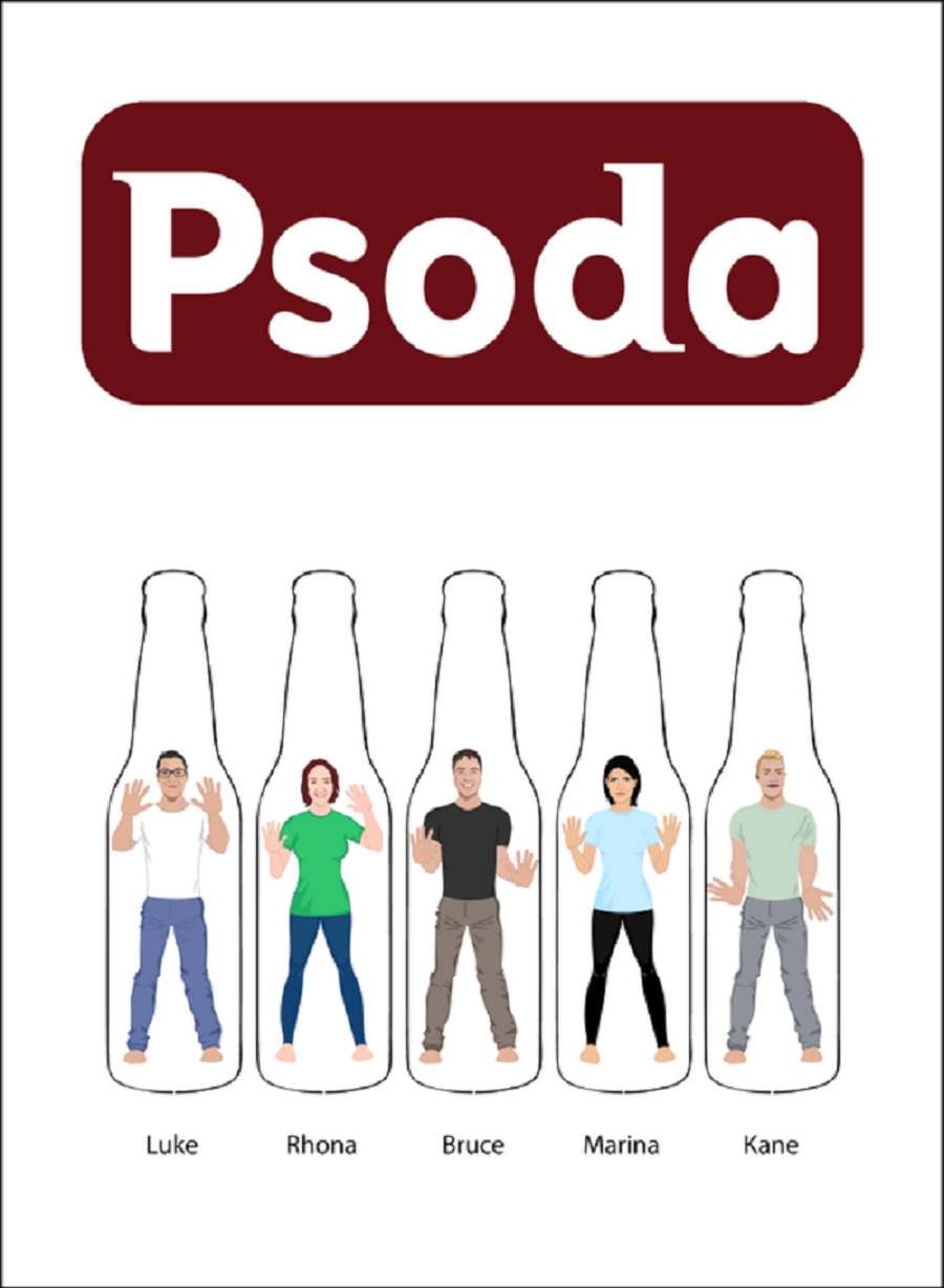 Psoda team in Psoda bottles