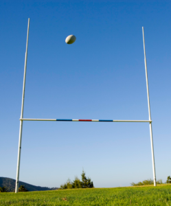 Benefits: Kicking a rugby ball between the posts