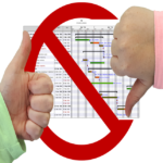 Gantt chart with thumbs up and down