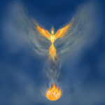 Phoenix rising from the flames that has PMO in it
