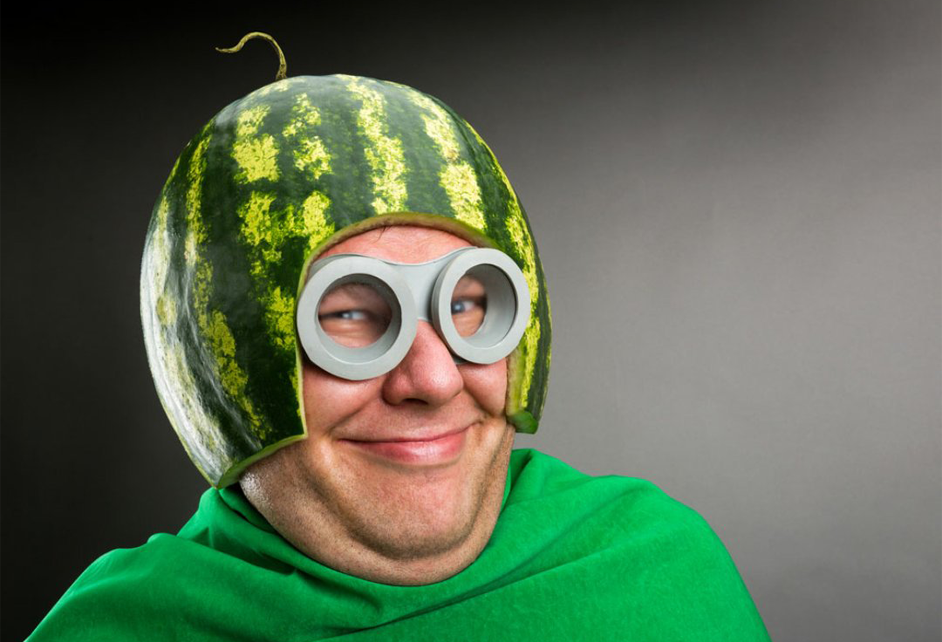 Weirdest projects ever. A man with a watermelon on his head