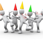 Celebration of the close of a project. Clip art people with party hats & streamers,