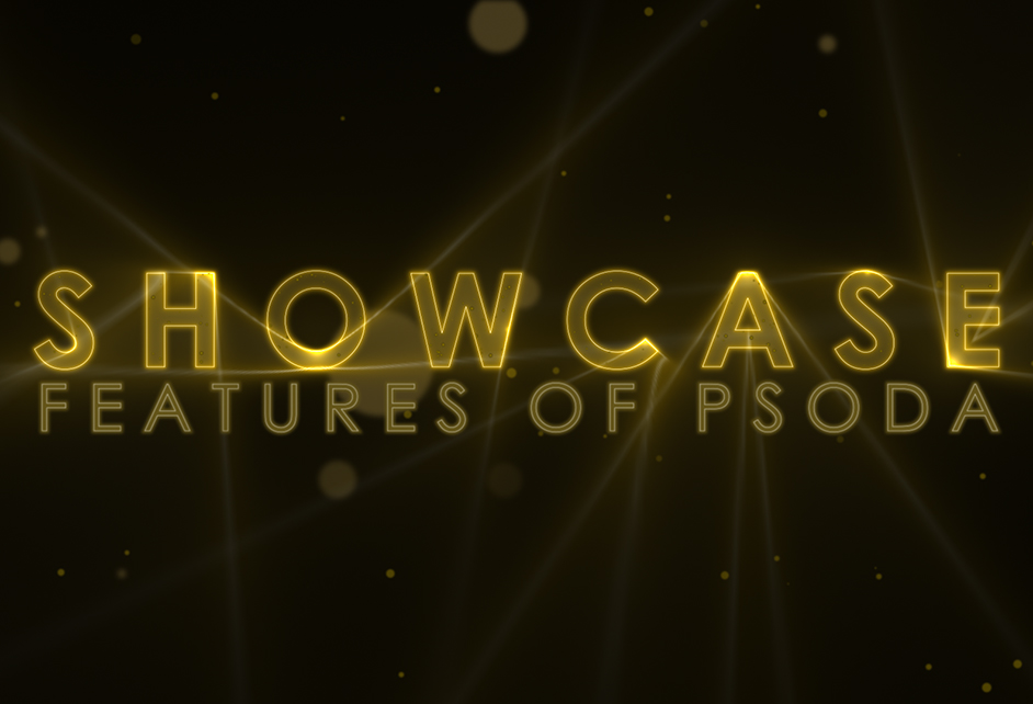 Showcase of Features of Psoda - Inline Editing in gold letters