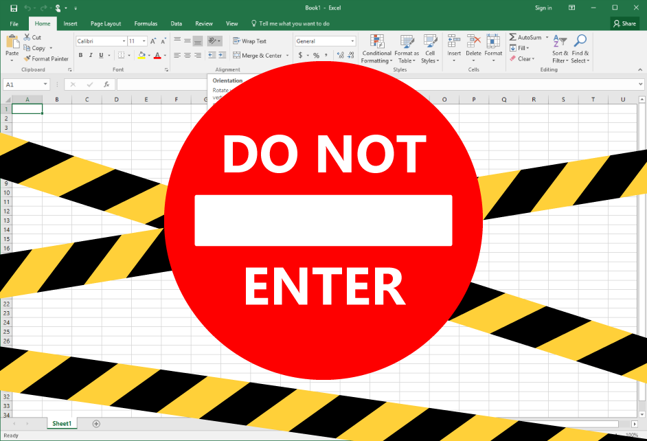 Spreadsheet with do not enter across it