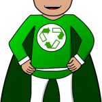 Green superhero with the recycle sign on his chest