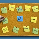 People skills board - a cork board with post it notes full of soft skills