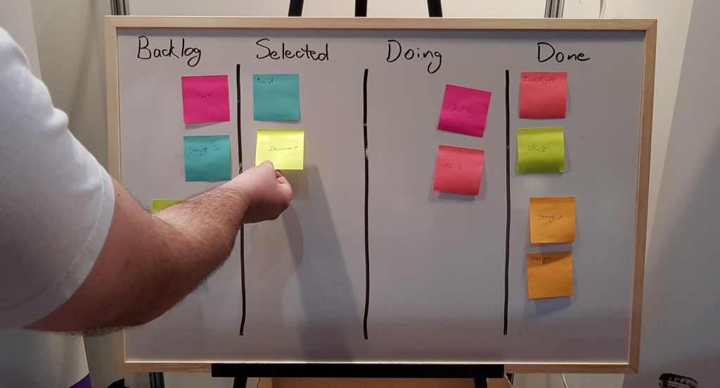 Physical kanban being updated