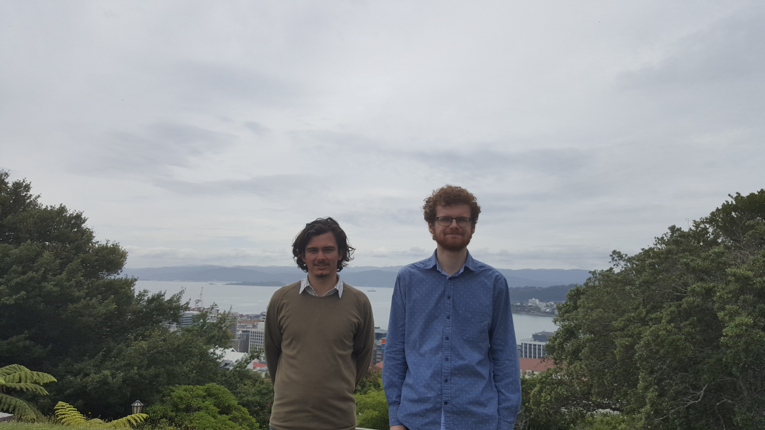Logan & Rodney; our Summer of Tech interns in the Wellington Botanical Gardens