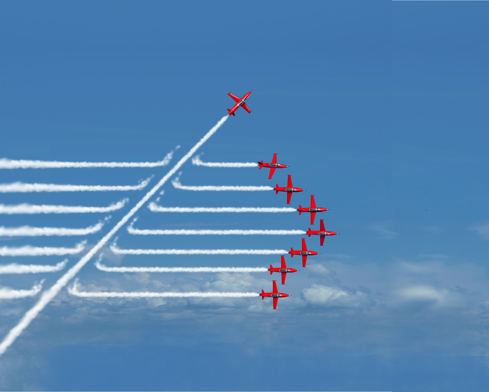 Change management - 7 red arrows flying in formation with 1 red arrow cutting across their contrails