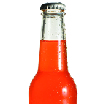 Psoda home page - project management module, glass drink bottle with orange liquid inside