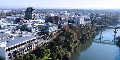 Aerial view of Hamilton, New Zealand