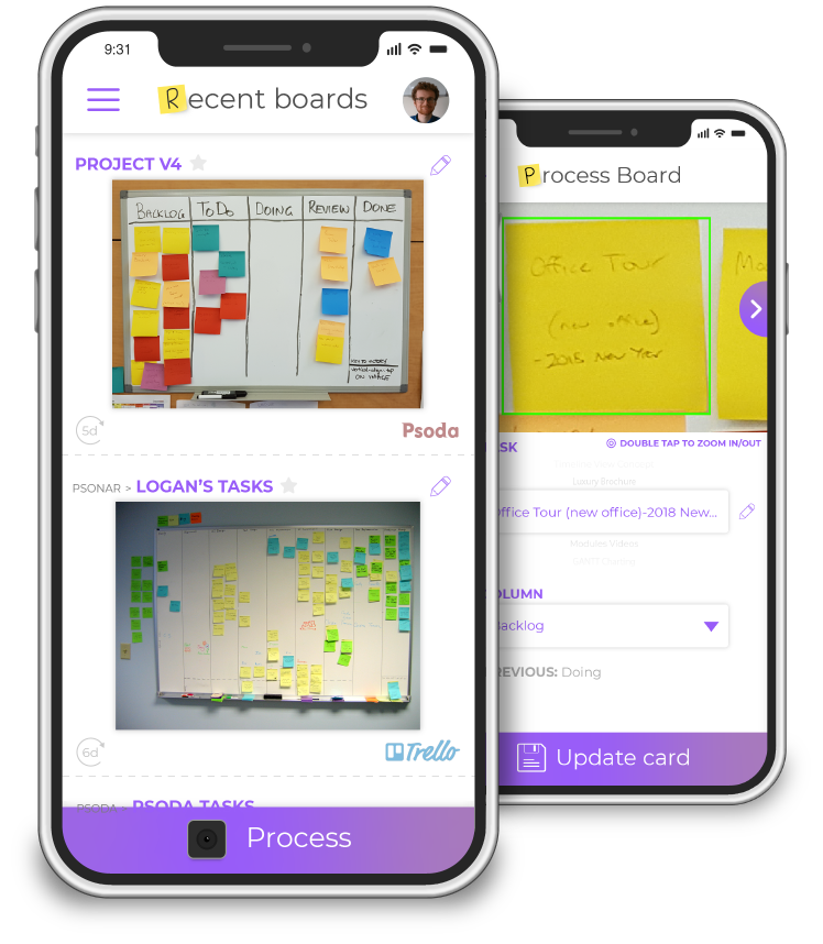 Kanban boards in the pocket.vision app