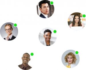 Photos of 6 culturally diverse people in individual circles with green dots at the top right of each circle
