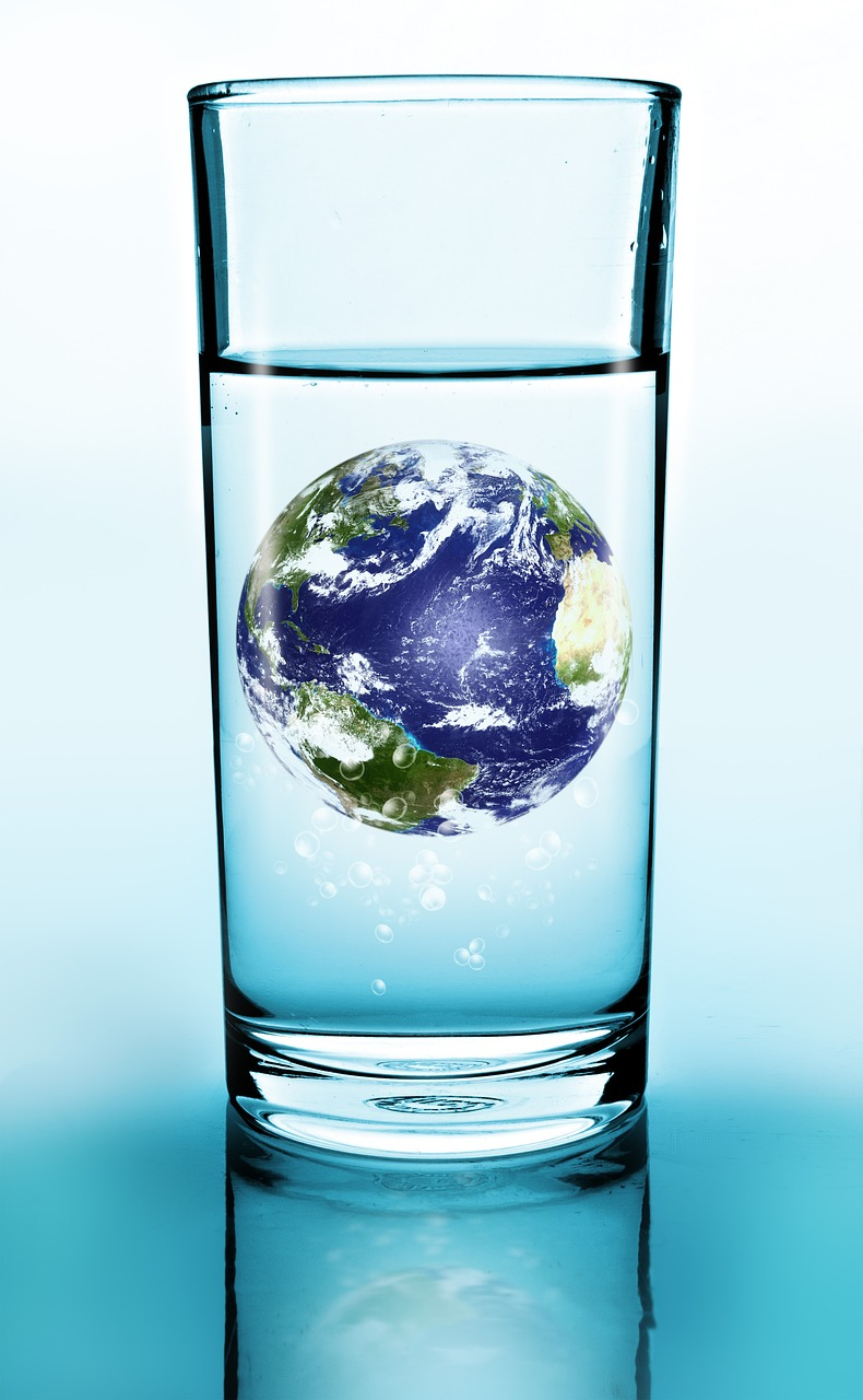 Planet Earth in a glass of water illustrating environmental projects