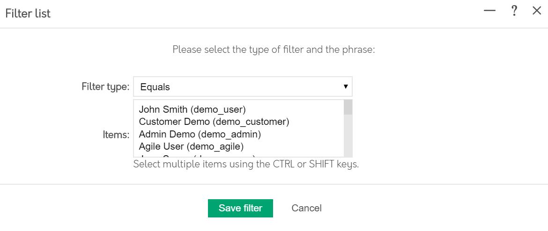Filter list popup in Psoda