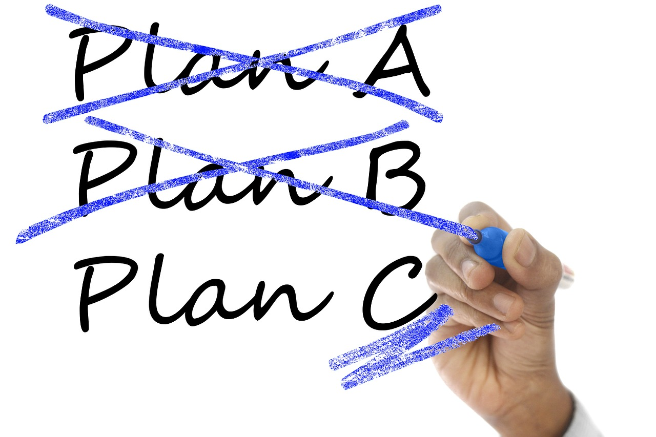 Contingency plan: plan A crossed out, plan B crossed out, plan c underlined