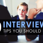 A woman having an interview