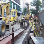 Agile construction - tractors and other heavy machinery on a building site